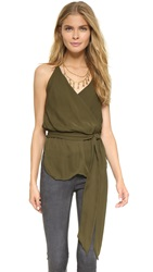 Haute Hippie Wrap Camisole With Sash Military