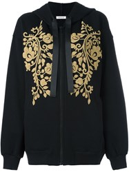 P.A.R.O.S.H. Gold Tone Patch Zipped Hoodie Black