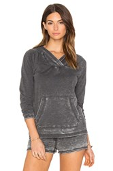 Bobi Burnout Terry Long Sleeve Hoodie Charcoal