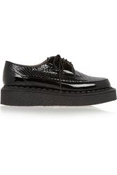 Purified George Cox Snake Effect Patent Leather Creepers Black