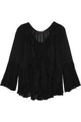 Roberto Cavalli Ruffled Silk Georgette Top Black