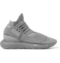Y 3 Qasa Suede Trimmed Neoprene High Top Sneakers Gray