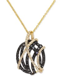 Effy Final Call Black And White Diamond Pendant Necklace 9 10 Ct. T.W. In 14K Gold Yellow Gold