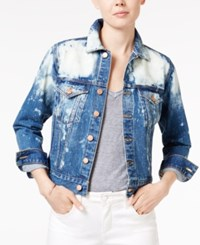 Lucky Brand Sescape Wash Bleached Denim Trucker Jacket Seascape S