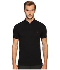 The Kooples Sport Fitted Officer Collar Polo Black Men's Short Sleeve Pullover