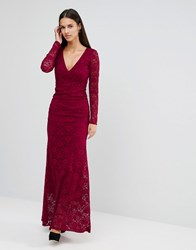 City Goddess Open Back Lace Maxi Dress Berry Red