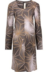 Marni Printed Cotton And Linen Blend Dress Light Brown