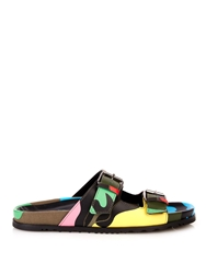 Valentino Double Strap Camouflage Print Sandals