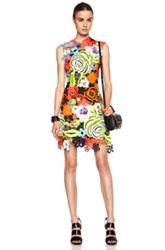 Christopher Kane All Over Motif Poly Dress In Floral Neon Yellow Orange