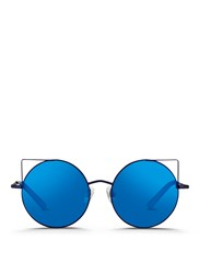Matthew Williamson 'Playful' Wire Cat Ear Round Mirror Sunglasses Blue