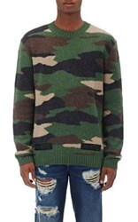 Off White C O Virgil Abloh Men's Camouflage Wool Sweater Green