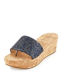 Pelle Moda Karson Glitter Wedge Sandal Midnight Black