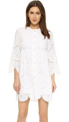 Suno Eyelet Lace Shirt Dress White