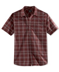 Fox Men's Rando Plaid Short Sleeve Shirt Burgundy