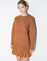 Brown Cut Out Back Sweater