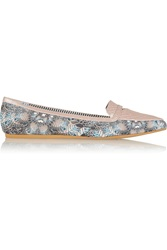 Charles Philip Inna Paneled Printed Satin Loafers Pink