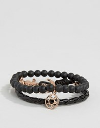 Icon Brand Silverball Anchor Bracelet In Black Rose Gold Black