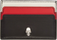 Alexander Mcqueen Black Tri Colour Skull Button Card Holder