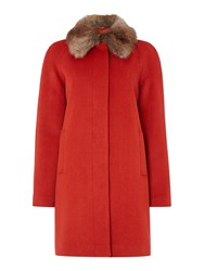 Dickins And Jones Faux Fur Collar Peacoat Orange