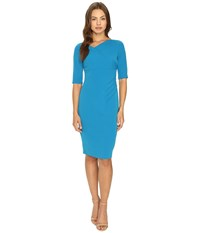 Adrianna Papell Minimalist Origami Neckline Sheath Dress Flashy Cerulean Women's Dress Blue