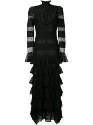 Alexander Mcqueen Tiered Lace Knit Gown Black
