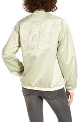 The Babe Collection Women's Style Club Bomber Jacket Olive Cream
