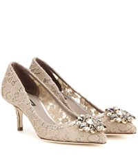 Dolce And Gabbana Bellucci Embellished Lace Pumps Beige