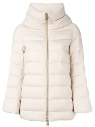 Herno Zip Up Puffer Jacket Nude And Neutrals