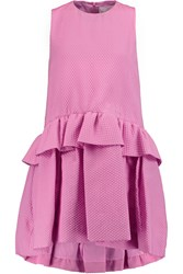 Victoria Beckham Cloque Peplum Mini Dress Pink