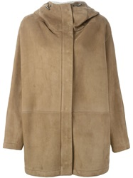 Dusan Hooded Lambskin Coat Nude And Neutrals