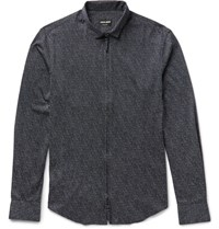 Giorgio Armani Printed Cotton Shirt Navy