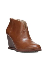 Dr. Scholl's Original Inda Leather Wedge Booties Tan