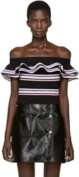 Msgm Black Ruffled Off The Shoulder Top