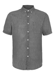 Topman Grey Denim Short Sleeve Casual Shirt