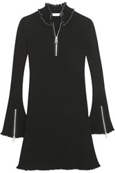 J.W.Anderson Ruffle Trimmed Ribbed Jersey Mini Dress Black