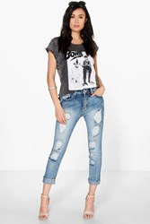 Boohoo Slim Fit Distressed Boyfriend Jeans Mid Blue
