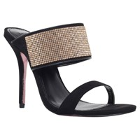 Carvela Gracious Slip On Stiletto Sandals Black Embellished