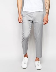 Asos Skinny Cropped Trousers In Grey Linen Mix Grey