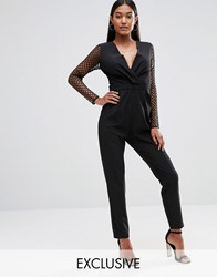 Naanaa Tuxedo Plunge Jumpsuit Cut Out Out Mesh Sleeve Black