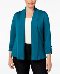Jm Collection Plus Size Ruched Sleeve Cardigan Only At Macy's Teal Abyss