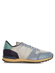 Valentino Rockrunner Mesh And Suede Low Top Trainers Grey Multi