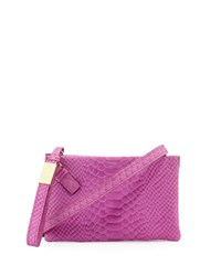 Foley Corinna Cache Snake Embossed Leather Crossbody Bag Fuchsia