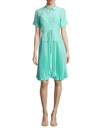 Nanette Lepore Sunburst Tie Waist Pleated Shirtdress Aqua Blue