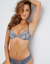 Asos Ria Basic Lace Mix And Match Plunge Bra Blue