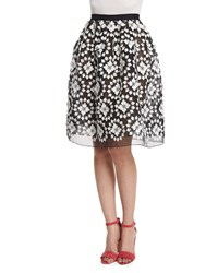 Monse Floral Lace Embellished Bell Skirt Black White Women's Size 8