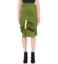 Martina Spetlova Bonded Silk Satin Pencil Skirt Green