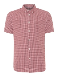Linea Gordon Short Sleeve Gingham Shirt Dark Red
