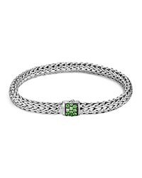 John Hardy Classic Chain Sterling Silver Small Bracelet With Tsavorite Clasp