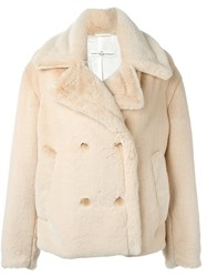 Golden Goose Deluxe Brand Oversized Faux Fur Peacoat Nude And Neutrals