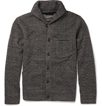 Beams Plus Fleece Lined Herringbone Woven Cardigan Gray